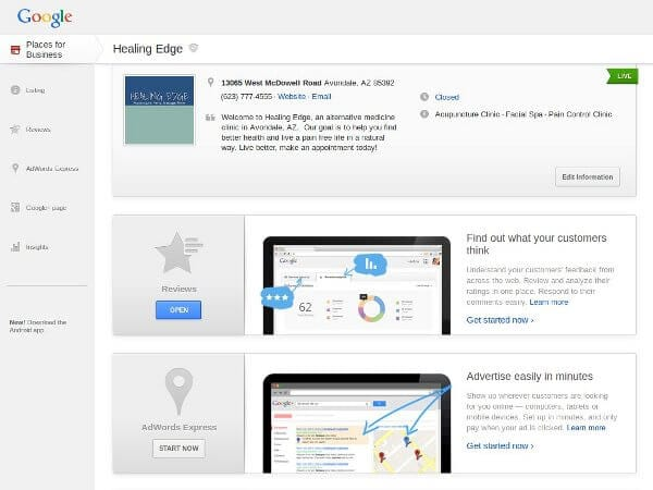 Google Places for Business Dashboard